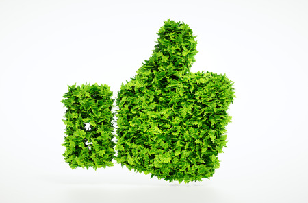 3D illustration of eco friendly thumbs up sign