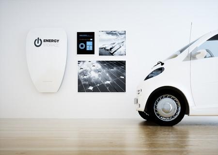 中央のホーム エネルギー ストレージ バッテリー ユニット デジタル コントロール パネルと車。3 D レンダリング。 写真素材
