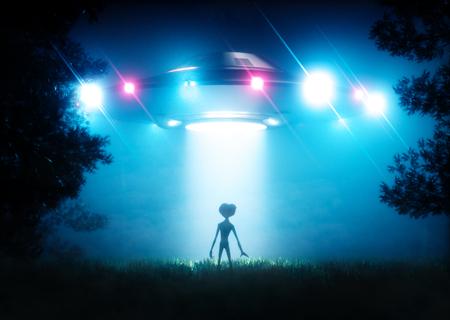 Der ufo schwebt über den fremden Besucher. 3D-Rendering Standard-Bild - 73577620