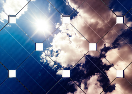 Afternoon cloudy sky reflection on solar panel. 3d rendering.