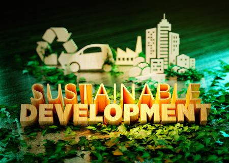 Sustainable development concept on green background with ecology symbols in background. 3D rendering.  Stock Photo