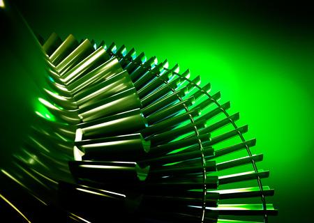 Turbine on green background. 3d rendering.