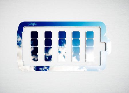 Renewable energy storage sign on white wooden desk. 3d illustration.