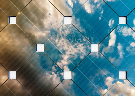 Evening cloudy sky reflection on solar panel. 3d rendering.