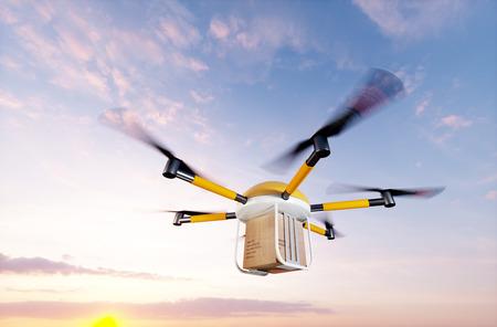 Concept of fast autonomous drone delivery. 3D rendering.