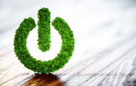 녹색 전원 버튼을 누릅니다. 청정 에너지 개념입니다. 3D 그림