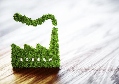 Ecologie industrie concept. 3D illustratie op houten achtergrond. Stockfoto