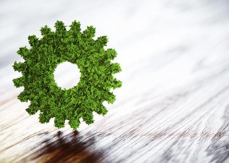 Ecology technology concept. 3D illustration on wooden background.