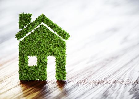 Ecology home concept. 3D illustration on wooden background.