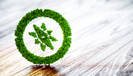 Green compass sign on blurred wooden background. 3D illustration