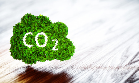 Green ecology CO2 icon on wooden background. 3d illustration. Stock Photo