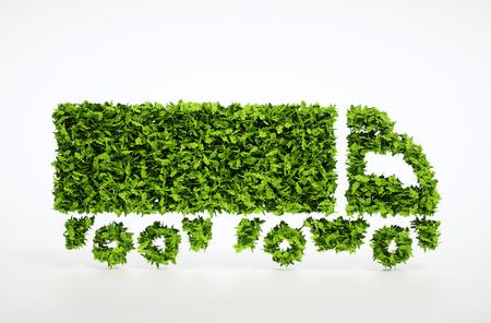 Ökologie-Logistik-Konzept. Illustration 3D eines grünen LKWs getrennt auf Weiß.