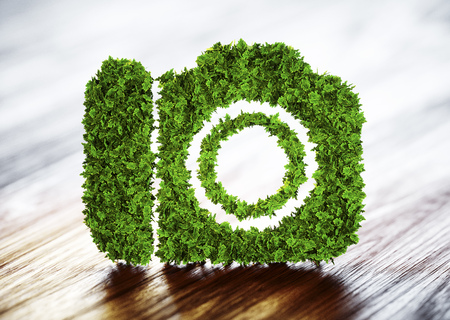 Ecology tourism concept. 3D illustration of a green camera with a blurred wood background. Foto de archivo
