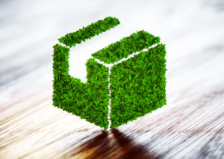 Green sustainable shipping concept. 3D illustration.