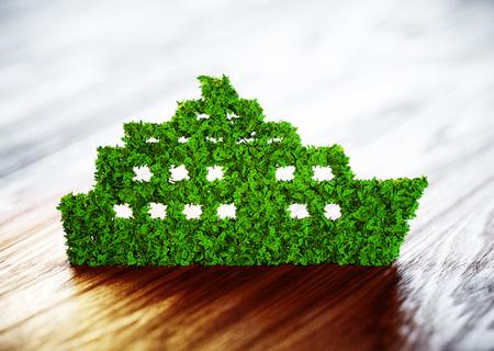 Ecology ship concept. 3D illustration on wooden background.