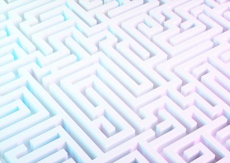 Labyrinth in white, blue and purple colors. 3d illustration. Foto de archivo
