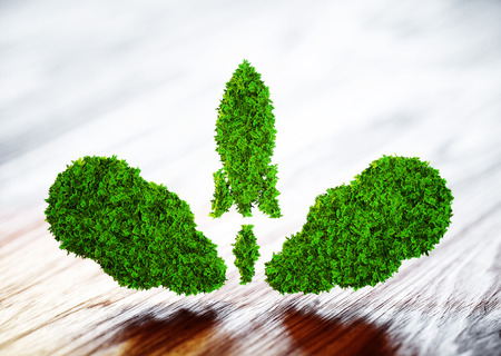 Eco startup concept isolated on white. 3d illustration Foto de archivo