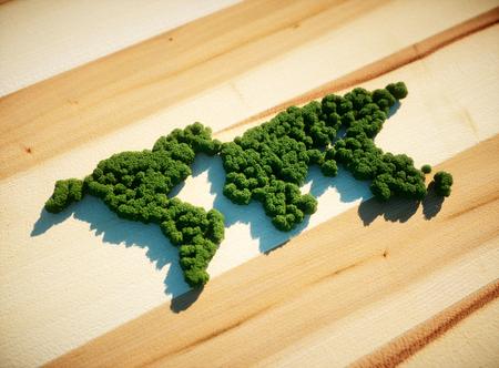 World map forest concept. 3d Illustration. Foto de archivo