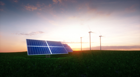 Renewable energy concept - photovoltaics and wind turbines on a grass filed in the morning. 3d illustration.