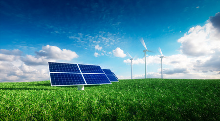 Renewable energy concept - photovoltaics and wind turbines on a grass filed. 3d illustration. Stok Fotoğraf