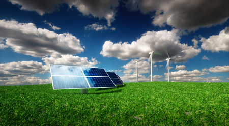 Renewable energy concept - photovoltaics and wind turbines on a grass filed. 3d illustration. Foto de archivo