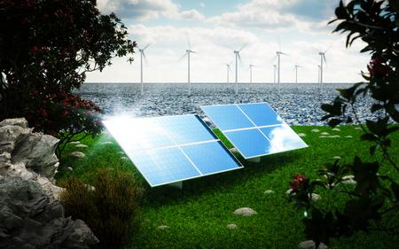 Renewable energy concept - photovoltaic and offshore wind turbines. 3d rendering. Foto de archivo
