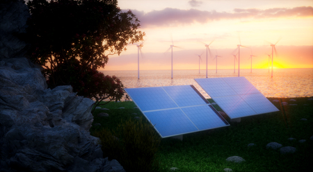 seacoast: Renewable energy concept - photovoltaic and offshore wind turbines. 3d rendering. Stock Photo