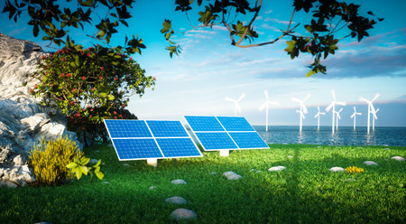 sea pollution: Renewable energy concept - photovoltaic and offshore wind turbines. 3d rendering. Stock Photo