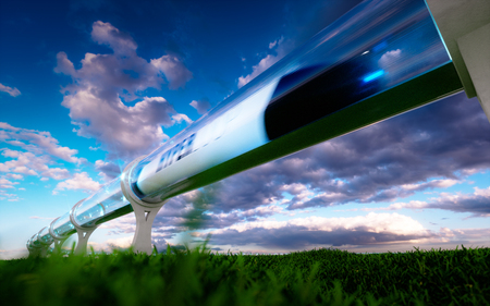Concept of high-speed traveling in a tube. 3d rendering.