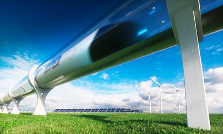 Tecnologias modernas em transporte e energia. Renderização 3D. Foto de archivo - 86327624