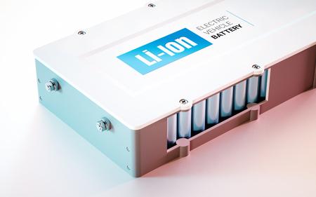 EV (전기 자동차) 리튬 이온 배터리 개념. 보기를 닫습니다. 3d 렌더링입니다.