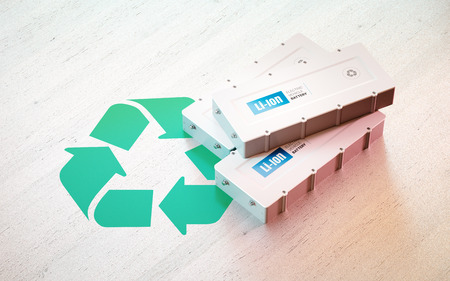 Li-Ion electric vehicle battery recycling concept. Recycle symbol with EV batteries on wooden desk. 3d rendering.