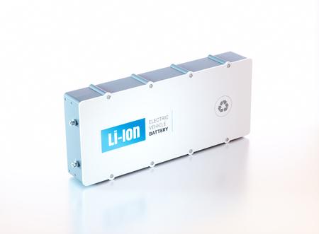 Batería de vehículo eléctrico Li-Ion. Representación 3d