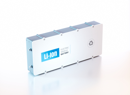 power supply unit: Li-Ion electric vehicle battery. 3d rendering. Stock Photo