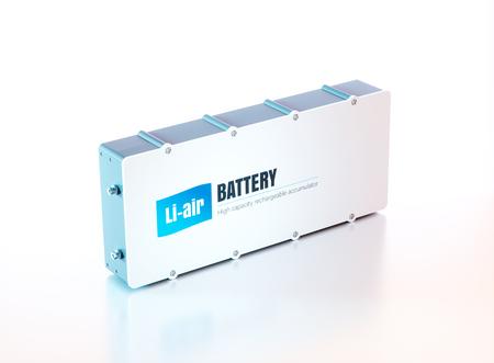Batterij lithium-luchtelektriciteit. 3D-rendering. Stockfoto