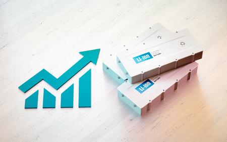 Li-Ion electric vehicle battery business concept. Growing graph with EV batteries on wooden desk. 3d rendering. Foto de archivo