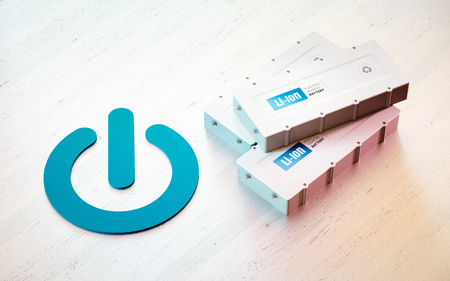 Li-Ion electric vehicle battery start concept. Start button symbol with EV batteries on wooden desk. 3d rendering.