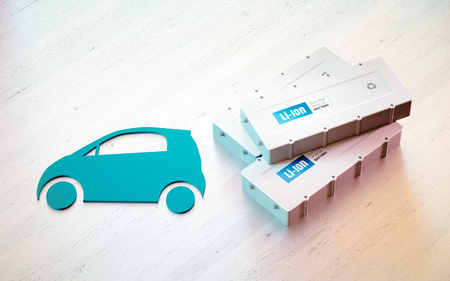 Li-Ion electric vehicle battery concept. Car symbol with EV batteries on wooden desk. 3d rendering.