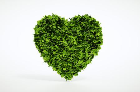 Green heart isolated on white background. 3d illustration. Foto de archivo