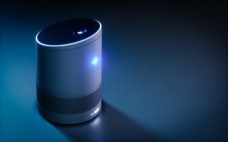 Assistente ativado por voz inteligente em casa. Conceito de renderização 3D da tecnologia de reconhecimento de fala inteligência artificial futurista de alta tecnologia. Foto de archivo