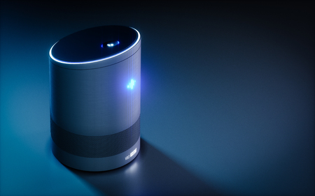 Home intelligent voice activated assistant. 3D rendering concept of hi tech futuristic artificial intelligence speech recognition technology. Stock fotó - 89505357