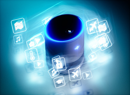 Concept of home intelligent voice activated assistant with voice command icons. 3D rendering concept of hi tech futuristic artificial intelligence speech recognition technology. Stok Fotoğraf