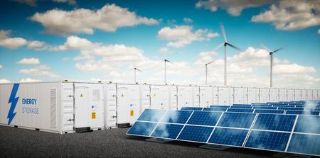 Concept van energieopslagsysteem. Hernieuwbare energiecentrales - fotovoltaïsche cellen, windturbinepark en batterijcontainer. 3D-rendering. Stockfoto