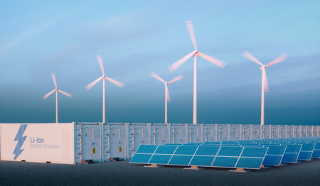 Battery energy storage concept in nice morning light. Hydrogen energy storage with renewable energy sources - photovoltaic and wind turbine power plant farm. 3d rendering.