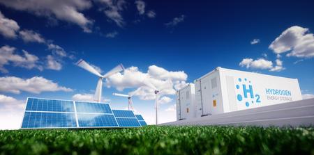 Ökologie-Energielösung. Power-to-Gas-Konzept. Wasserstoff-Energiespeicher mit erneuerbaren Energiequellen - Photovoltaik- und Windkraftanlage in frischer Natur. 3D-Rendering. Standard-Bild