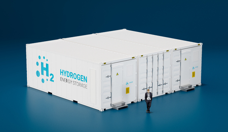 Concept of hi tech mobile hydrogen energy storage facility made of shipping containers. 3d rendering. Standard-Bild