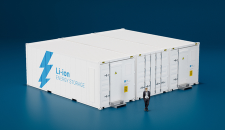 Concept of advanced battery energy storage facility made of shipping containers. 3d rendering.