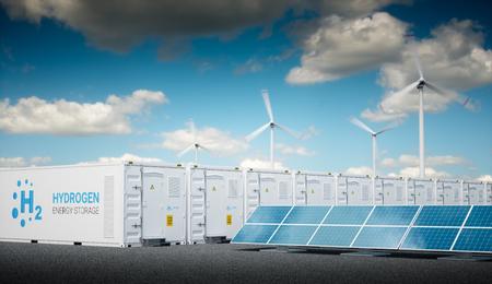 Energie zum Gaskonzept mit frischem sonnigem Himmel. Wasserstoff-Energiespeicher mit erneuerbaren Energiequellen - Photovoltaik- und Windkraftanlagenkraftwerk. 3D-Rendering. Standard-Bild - 91008198