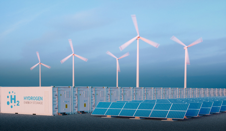 Power to gas concept in nice morning light. Hydrogen energy storage with renewable energy sources - photovoltaic and wind turbine power plant farm. 3d rendering.