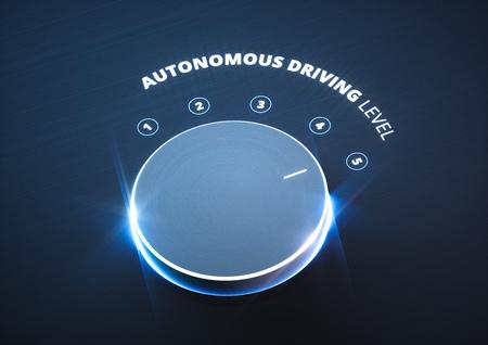 Autonomes Fahrniveau-Konzept. 3D-Rendering. Standard-Bild - 91308498